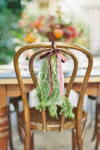 Simple greenery on a gold chair