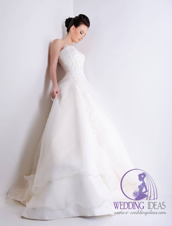 Elegant ball gown with a straight neck. Lace design on the bodice, tied on the back with a delicate bow on the end.