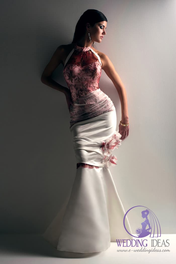 High neck with red lace and flower design on the bodice dress