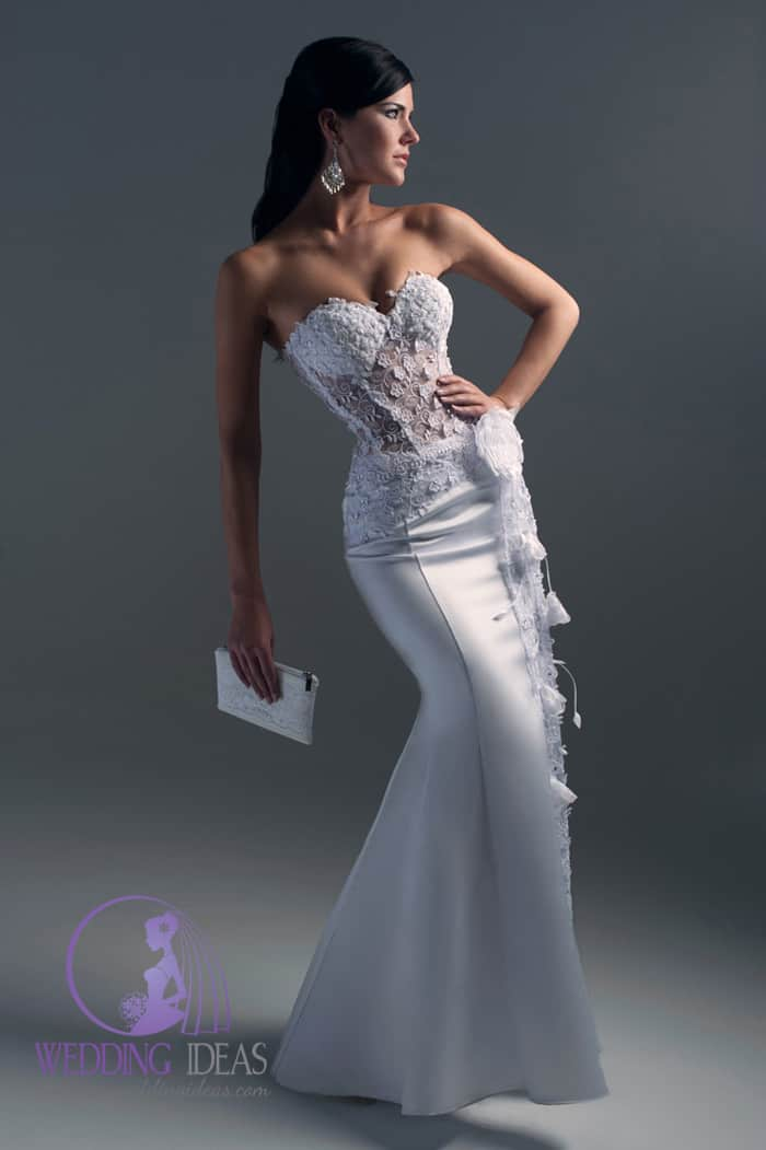 See-through strapless lace bodice. Long satin mermaid skirt.
