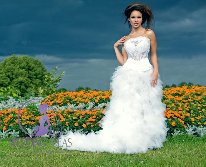 See-through lace bodice and layered tulle skirt with a long train.