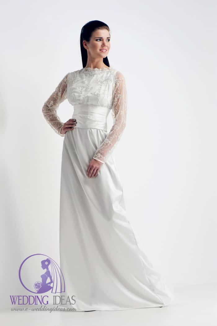 Sabrina neckline with long lace sleeves.