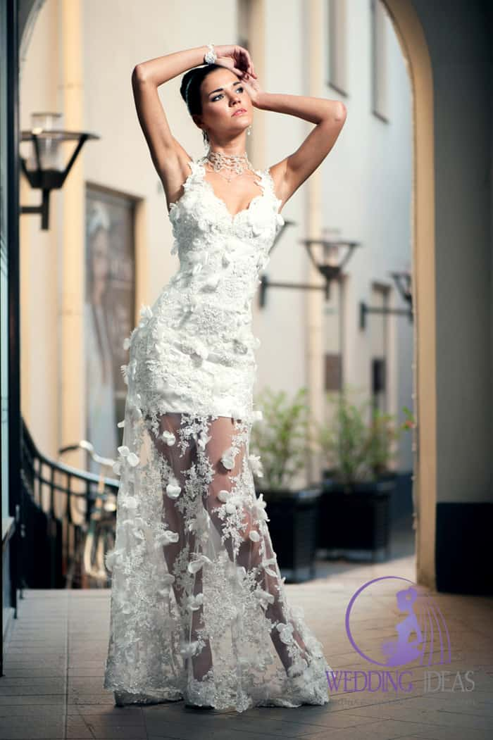 V-neck neckline and lace dress with a see-through skirt