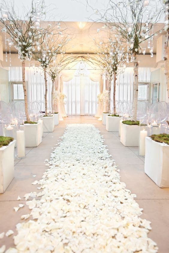 white rose petal path with lit trees