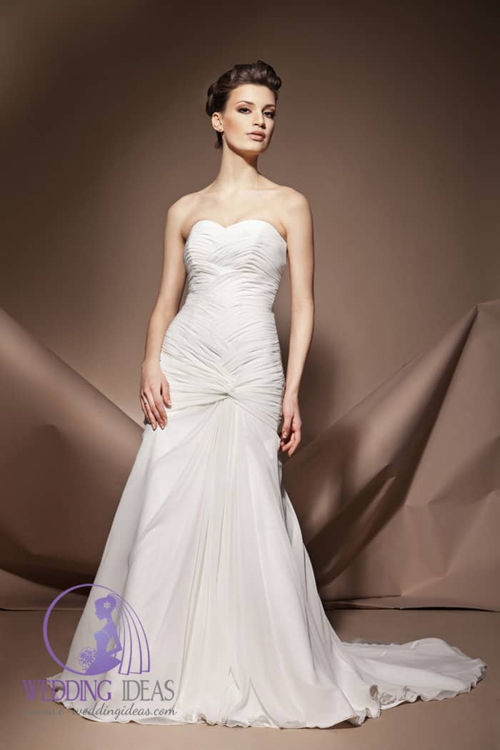 Sweetheart necklace with satin layered bodice, long skirt with train.