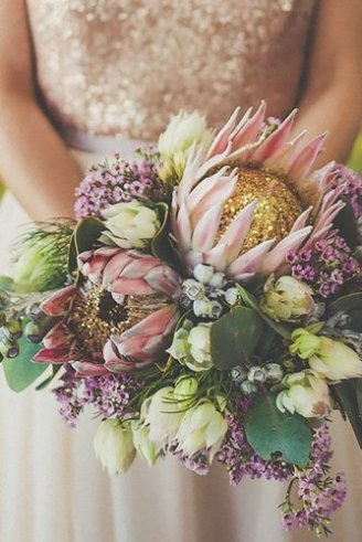 Imperial Protea - 2 large pink flowers with closed flowers; Freesia - white flowers;