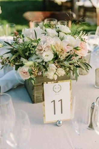 bouquet decoration in square box on table