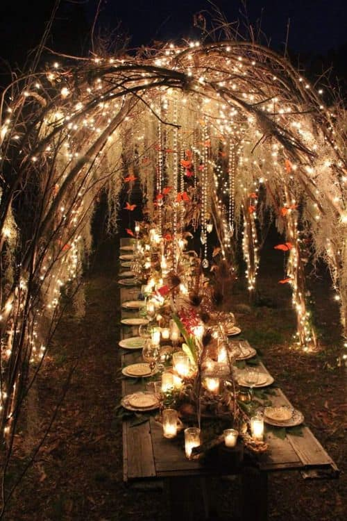 night wedding table scape