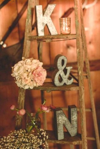 Rustic letters wedding decor