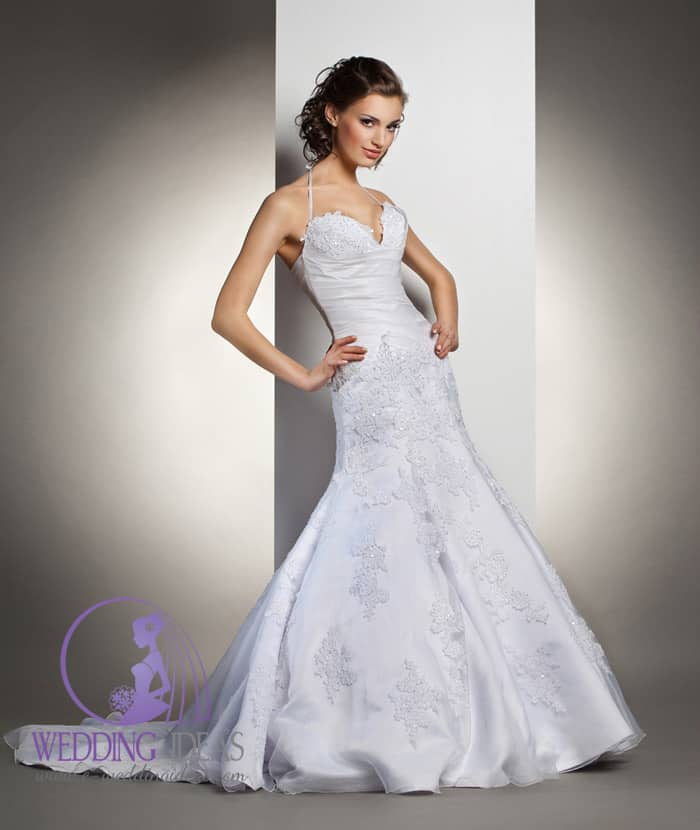 90. Halter strap with deep neckline. Lace on the bust and satin on the waist, skirt make from satin with lace and crystal elements, and train from satin and tulle.