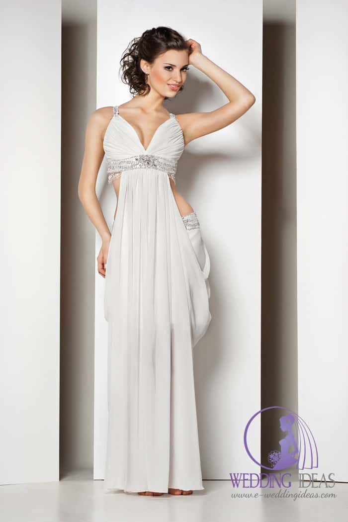 V-neck necklace with crystal belt under bust, and open in the waist with satin hidden tummy.