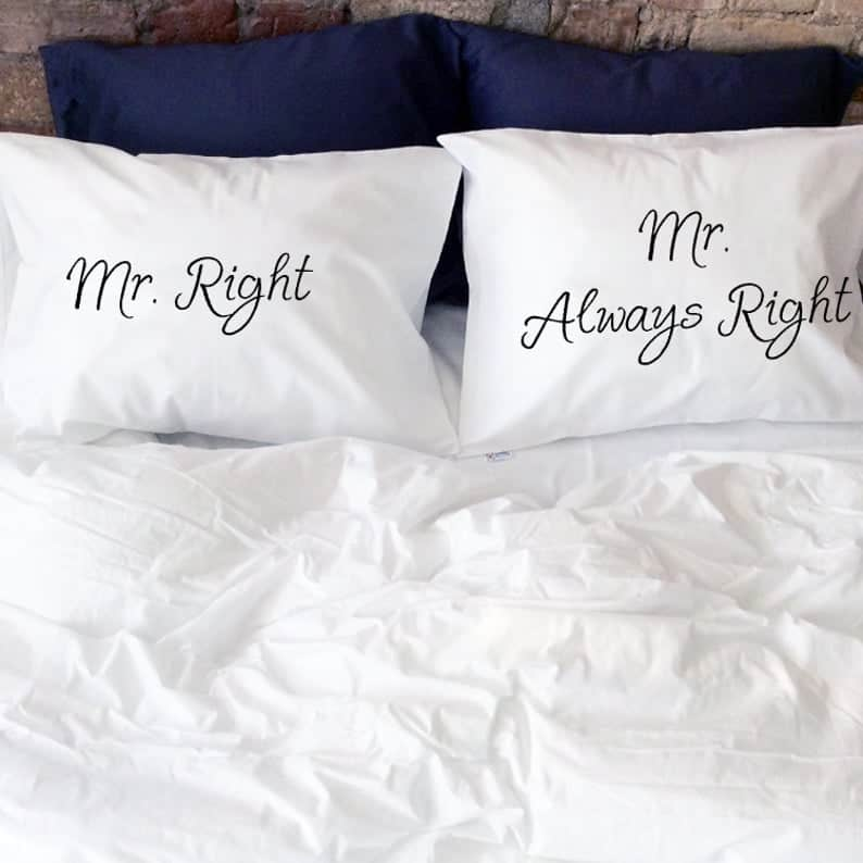 two white pillows for gay couple