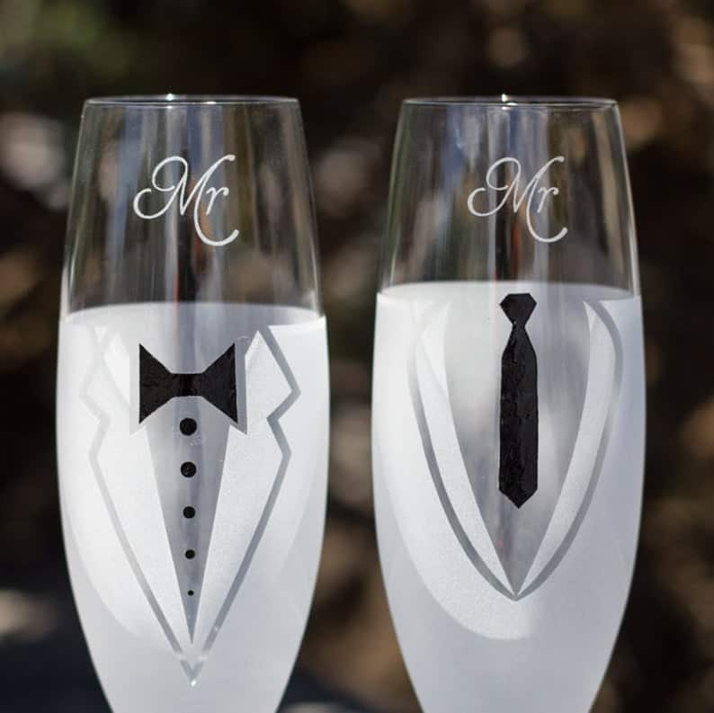 personalized wedding glasses for gay
