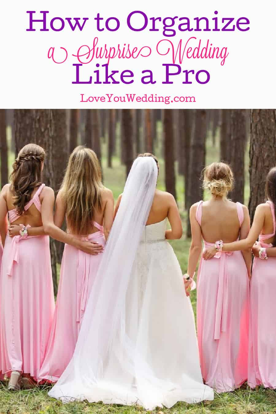 Back view of a bride in white with bridesmaids in pink