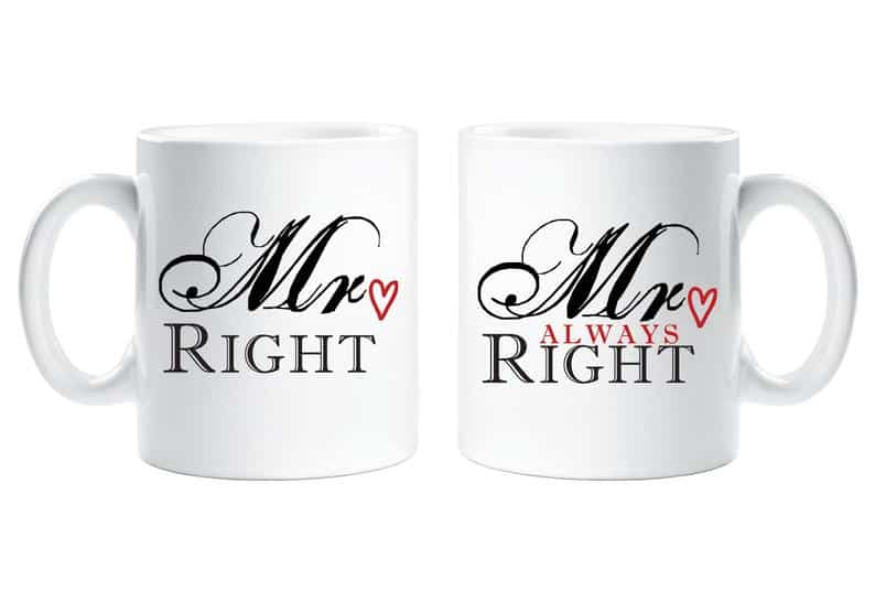 white mugs with mr. and mrs. right labels