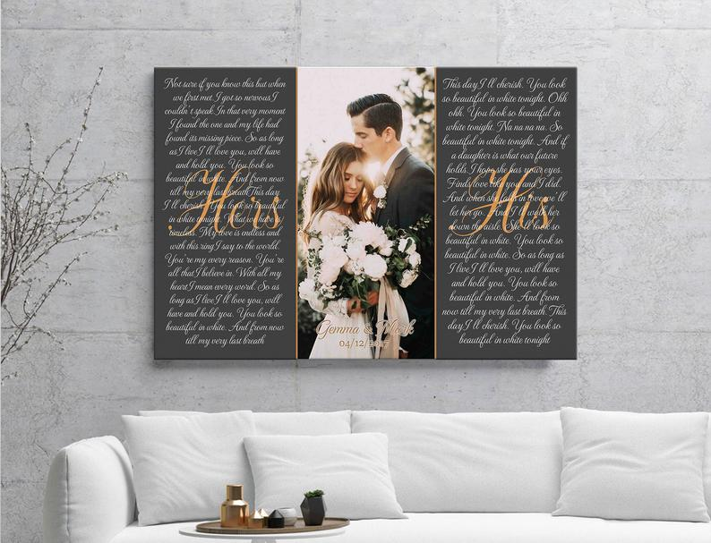 hers and his wedding photo frame