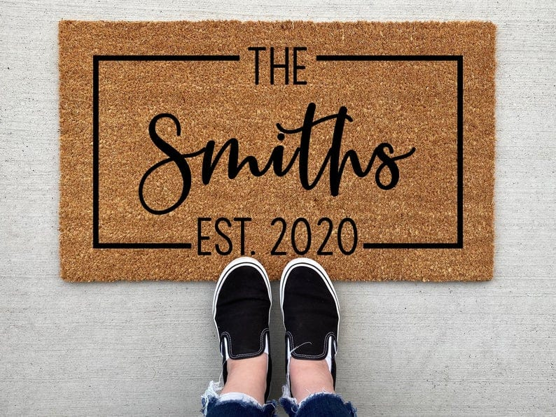 handmade doormat with personalized name