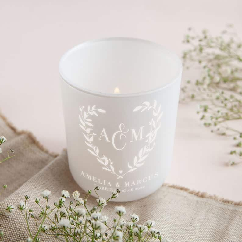 white tealight holder with personalized name