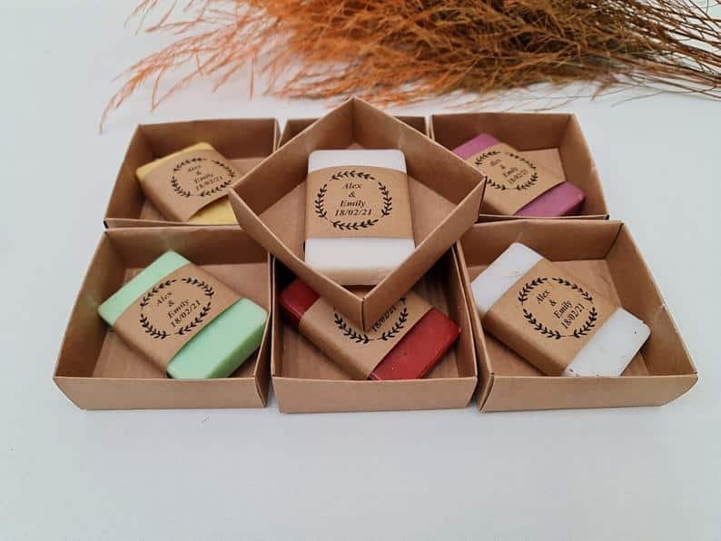 handmade wedding soaps with various colors such as pink and white