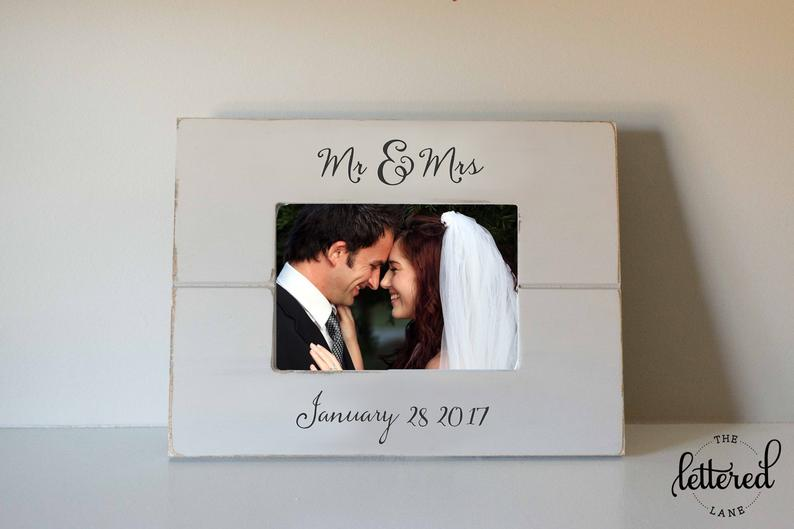 personalized wedding photo frame with date of wedding