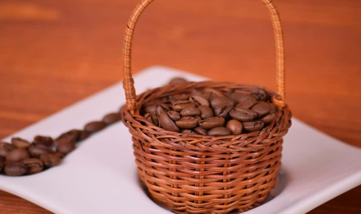 coffee basket full of coffee beans