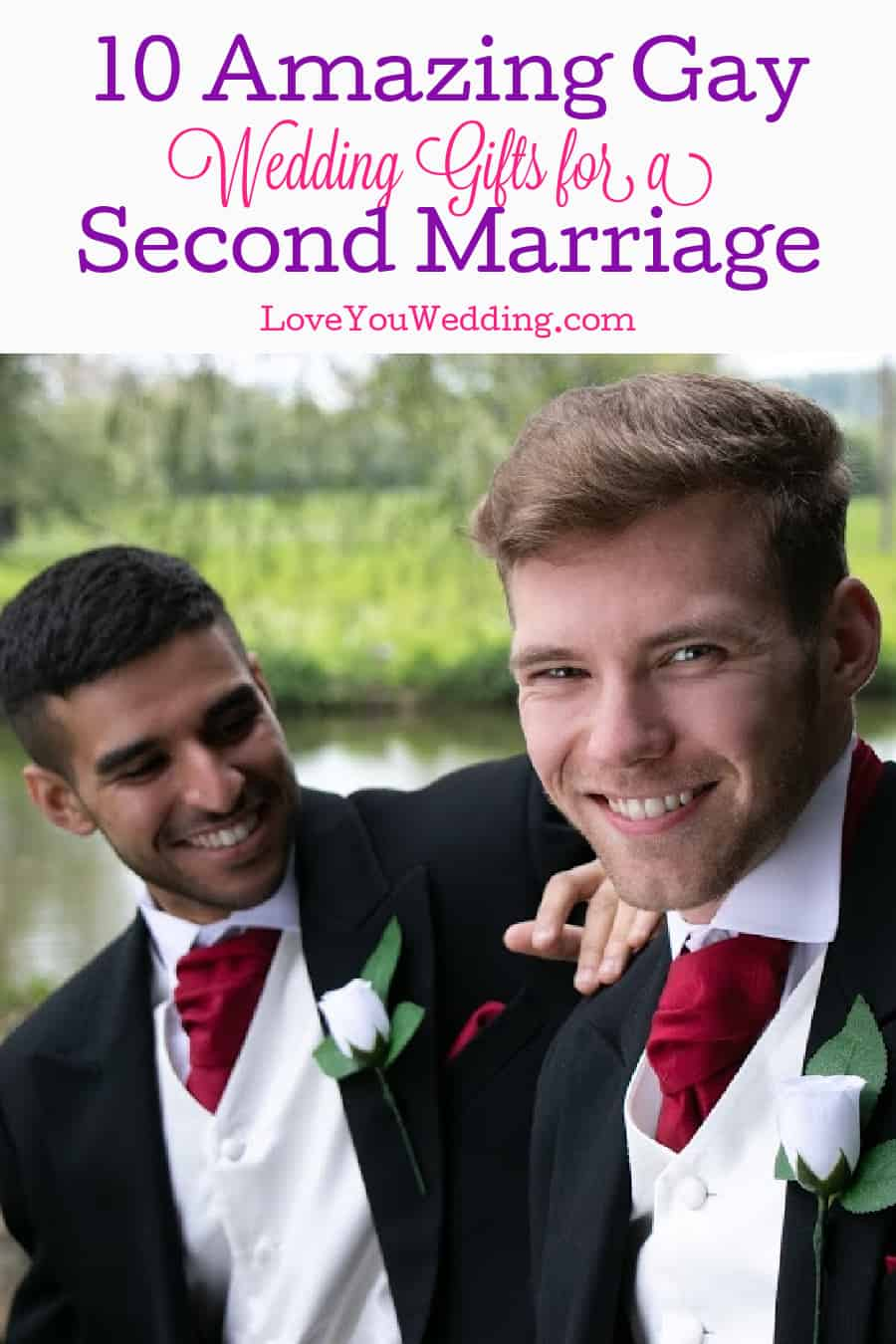 Gay grooms dressed in tuxedos