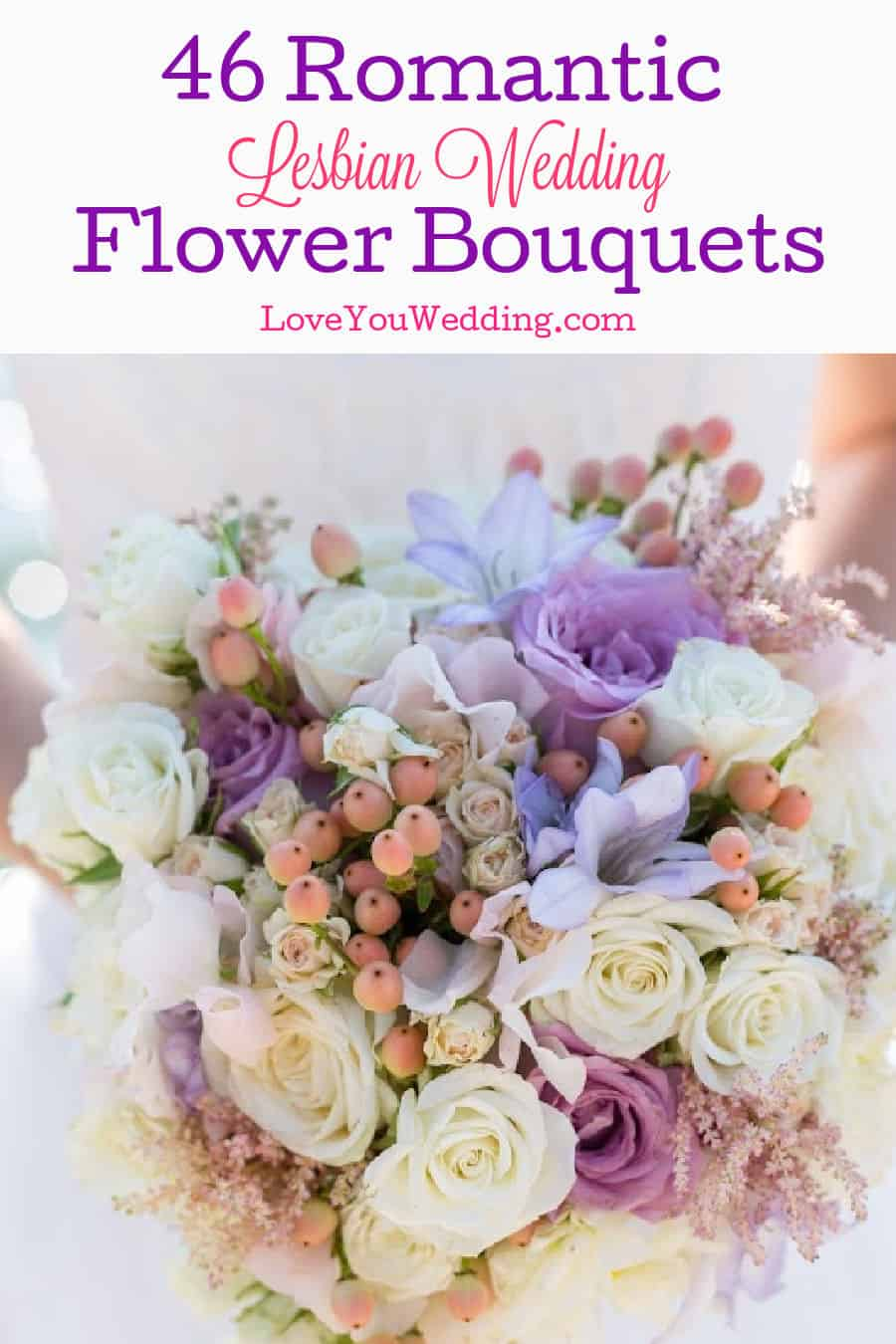Beautiful flower bouquet with white roses and purple blooms