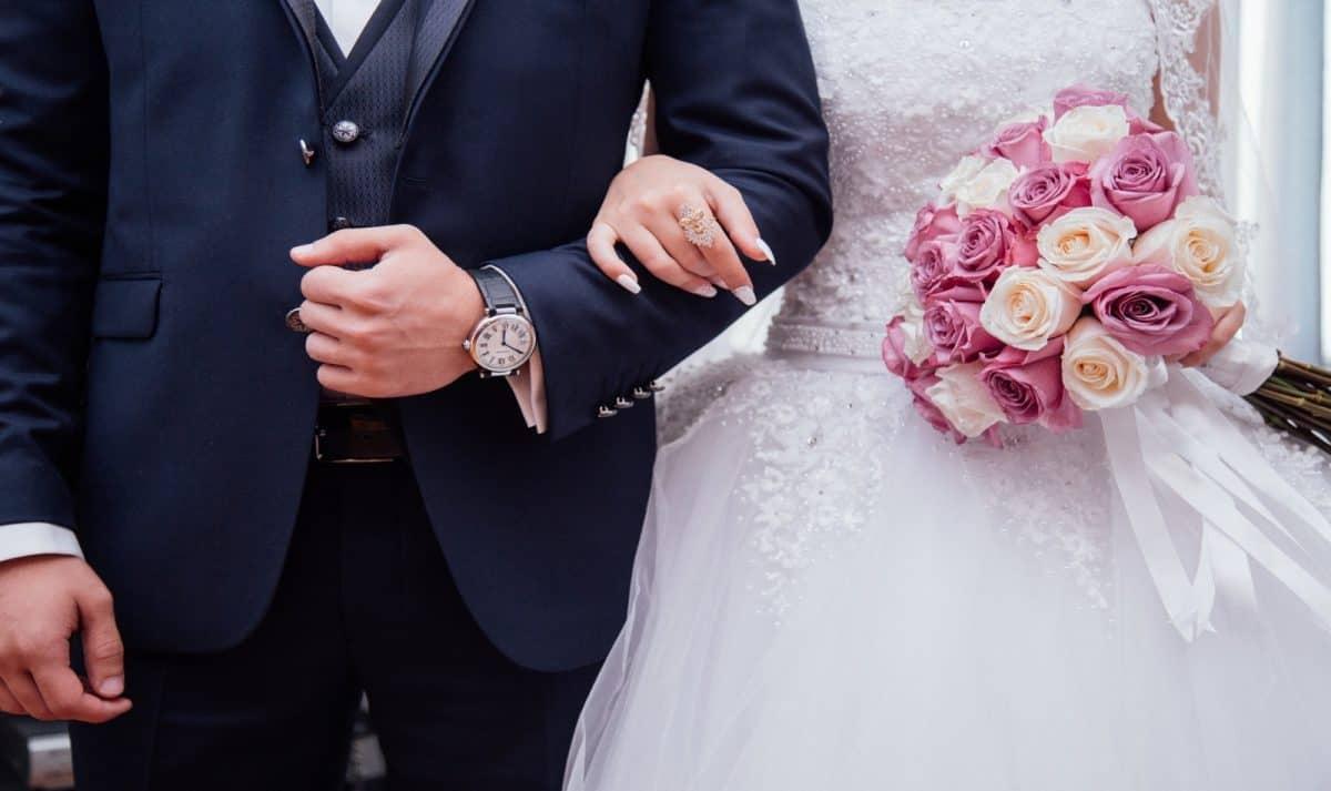 groom and bride's wedding apparel