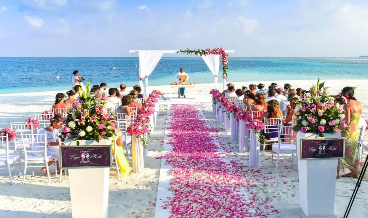 wedding reception beside a beach with minimal guests