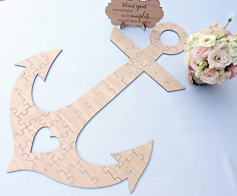 Anchor Wedding Guest Book Puzzle