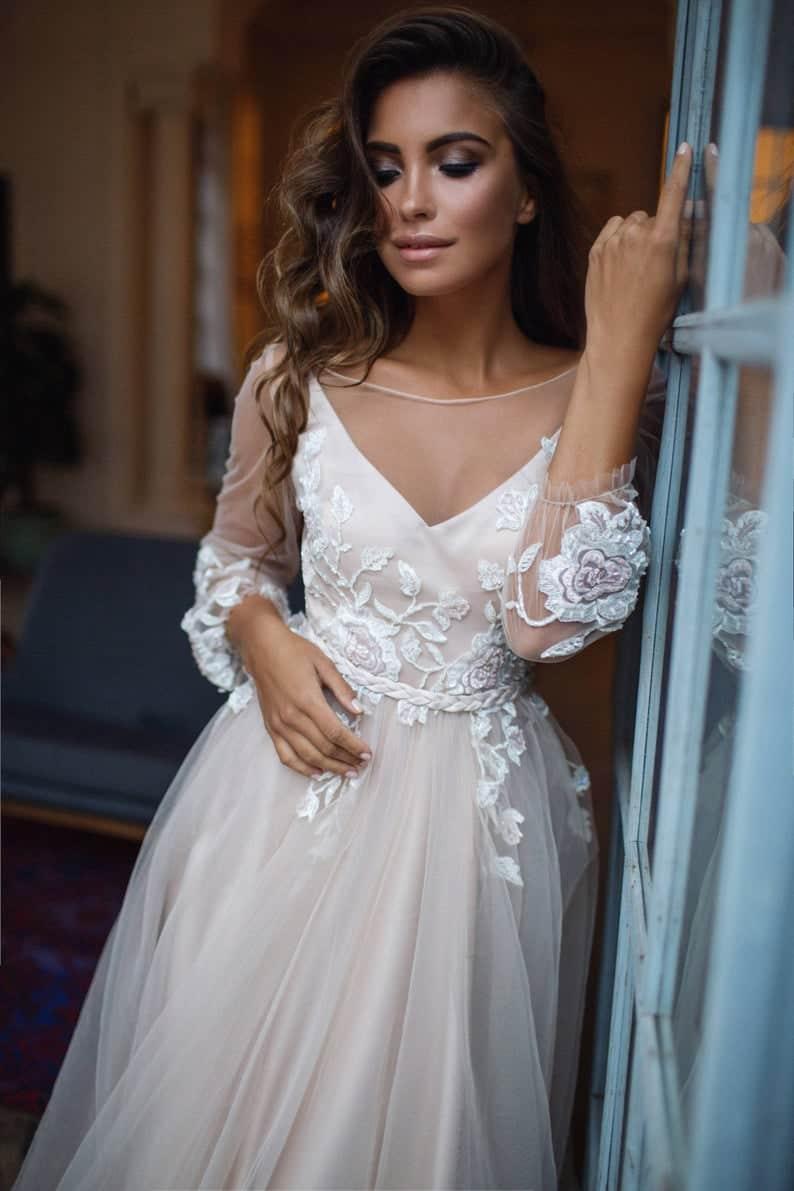 Bohemian wedding dress long sleeve Tara  open | Etsy