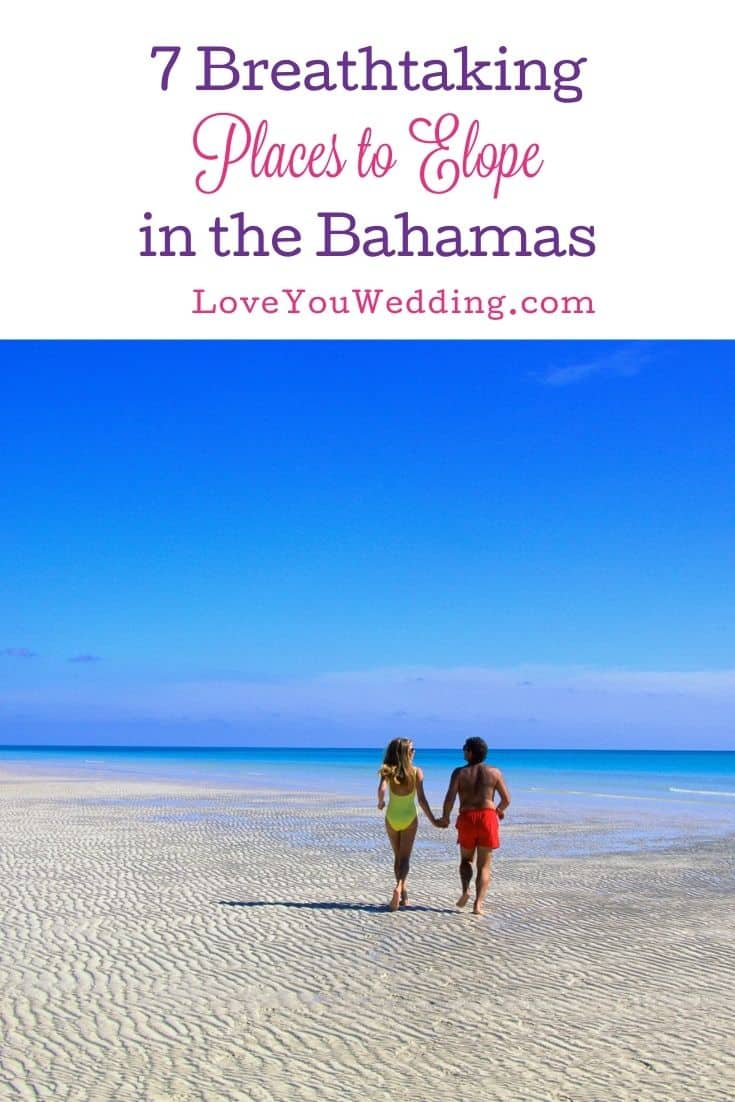 couple eloping in the Bahamas