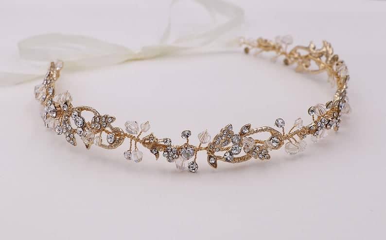 crystal wedding gold tiara