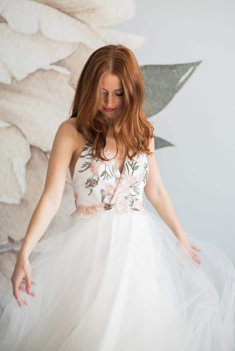 Embroidered floral wedding dress