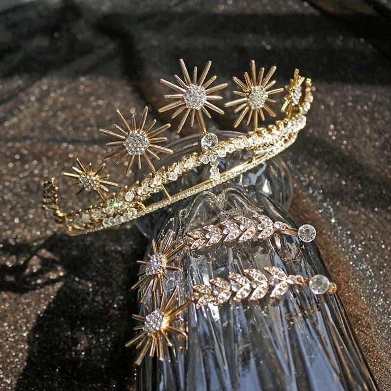 gold floral wedding tiara