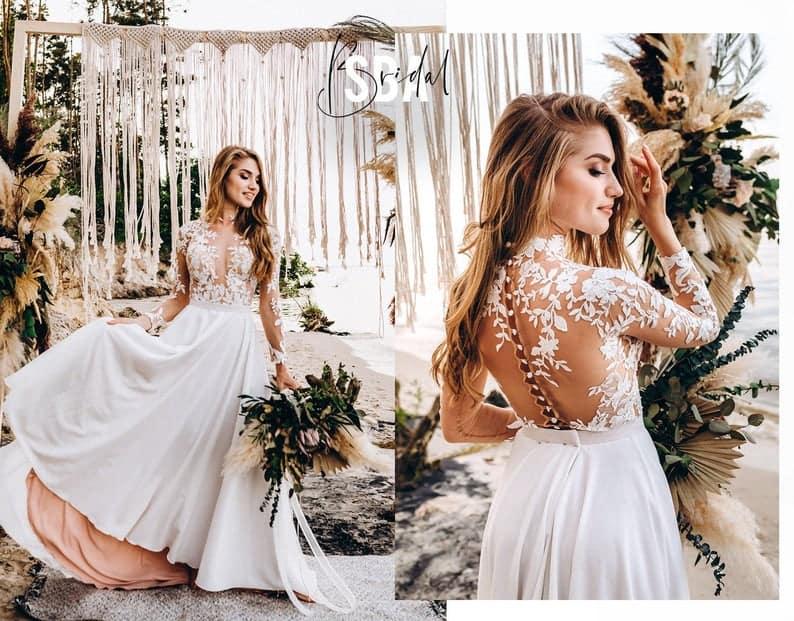 Floral beach boho bridal separates