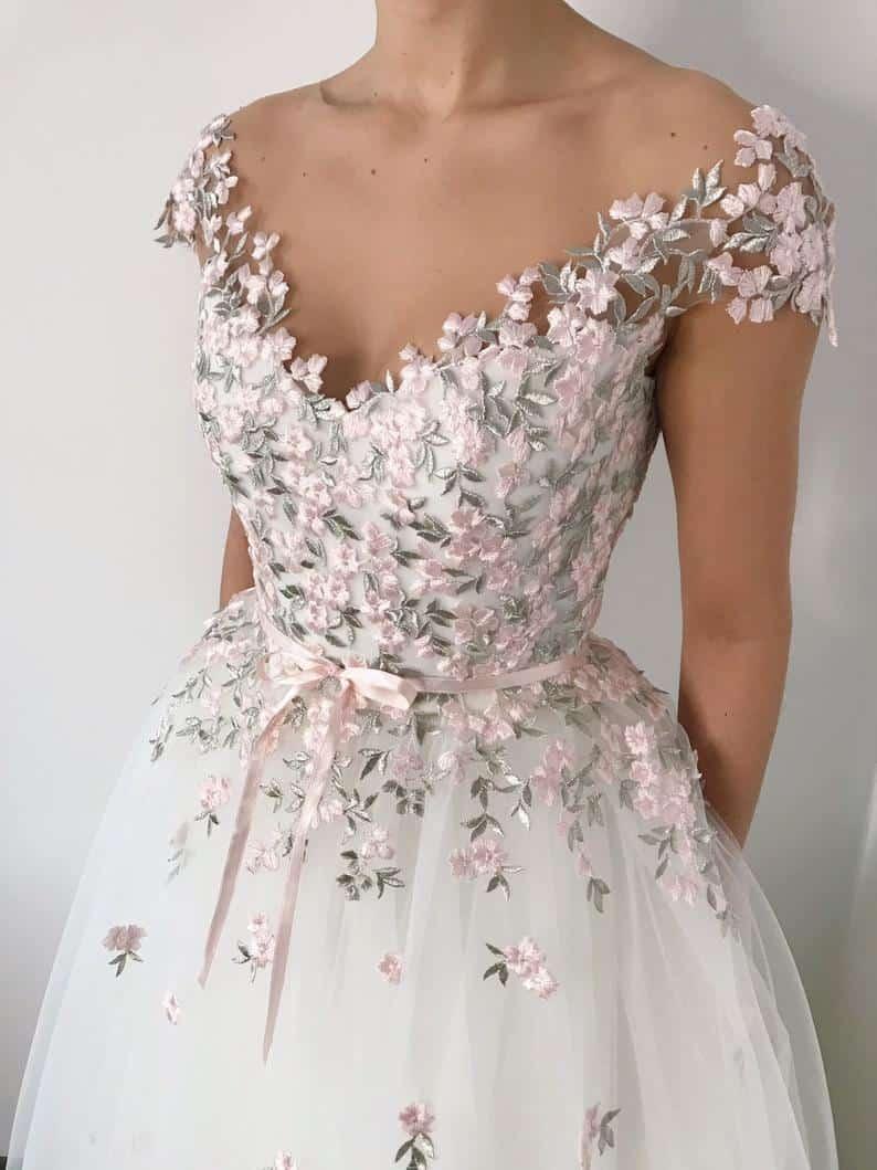 Floral wedding dress, pink flower romantic wedding gown