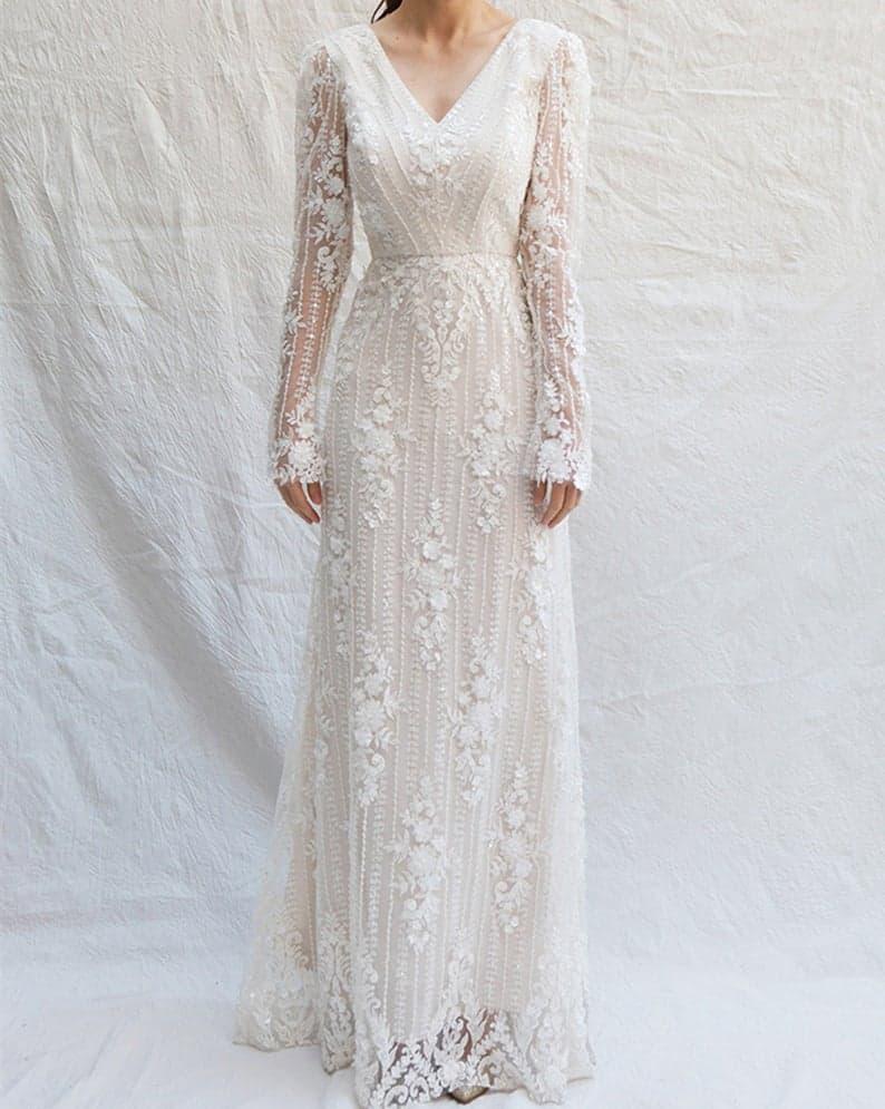 Lace Applique Bridal Wedding Dress