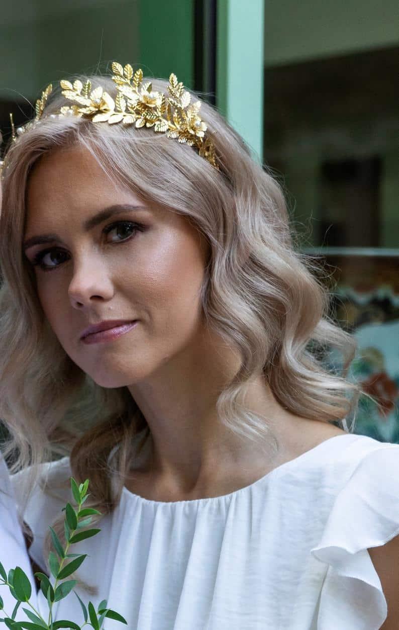 gold leaf wedding tiara