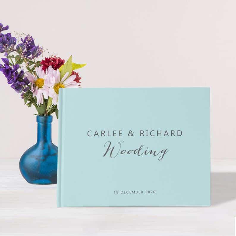 Pastel Blue Large Wedding Guest Book