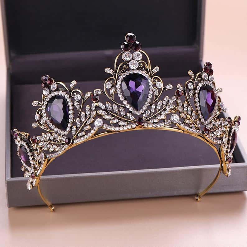 purple vintage wedding tiara