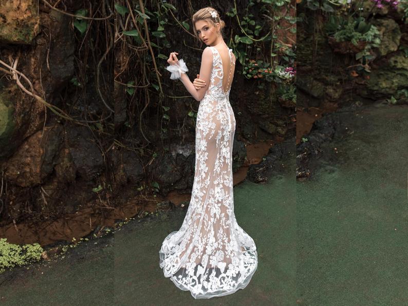 Sheer Long Sleeve Weding Dress