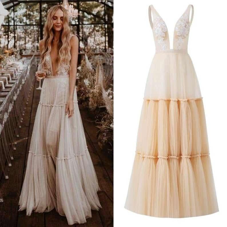 Tulle Wedding Dress Floral
