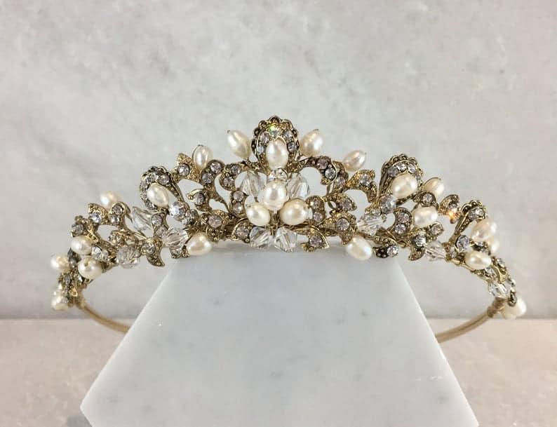 vintage gold freshwater pearl wedding tiara