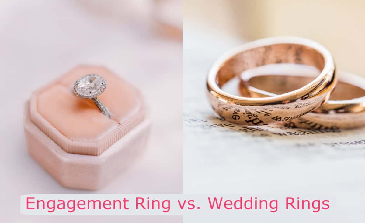 Example of engagement rings vs. wedding rings, showing the difference.