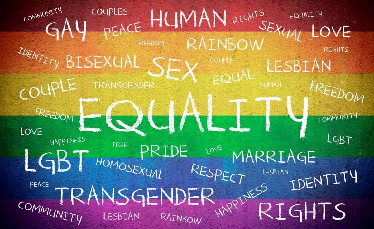 Equality LGBTQ Word cloud on rainbow
