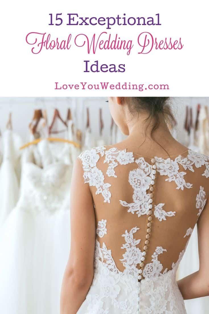 a lady choosing floral wedding dresses for her wedding