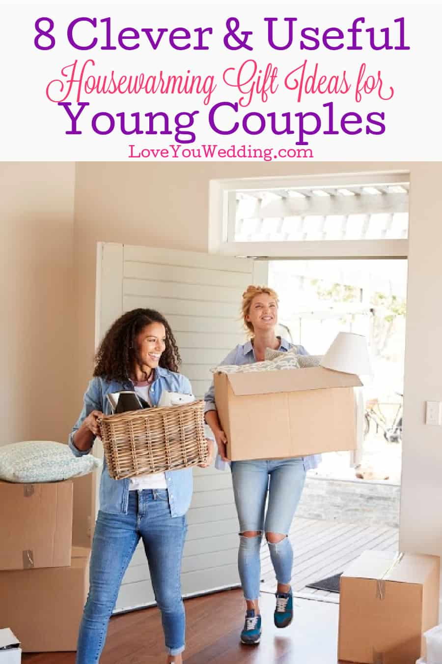 Lesbian women moving into a new home with boxes and baskets