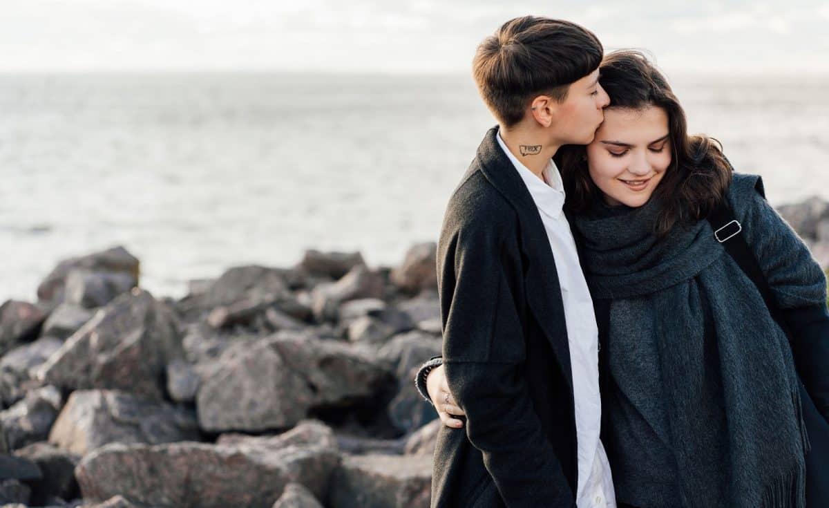 Lesbian couple on a beach