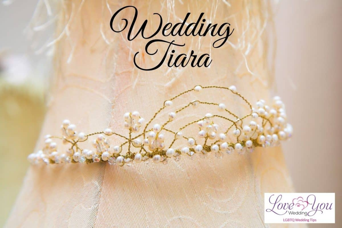 a simple gold and pearl wedding tiara